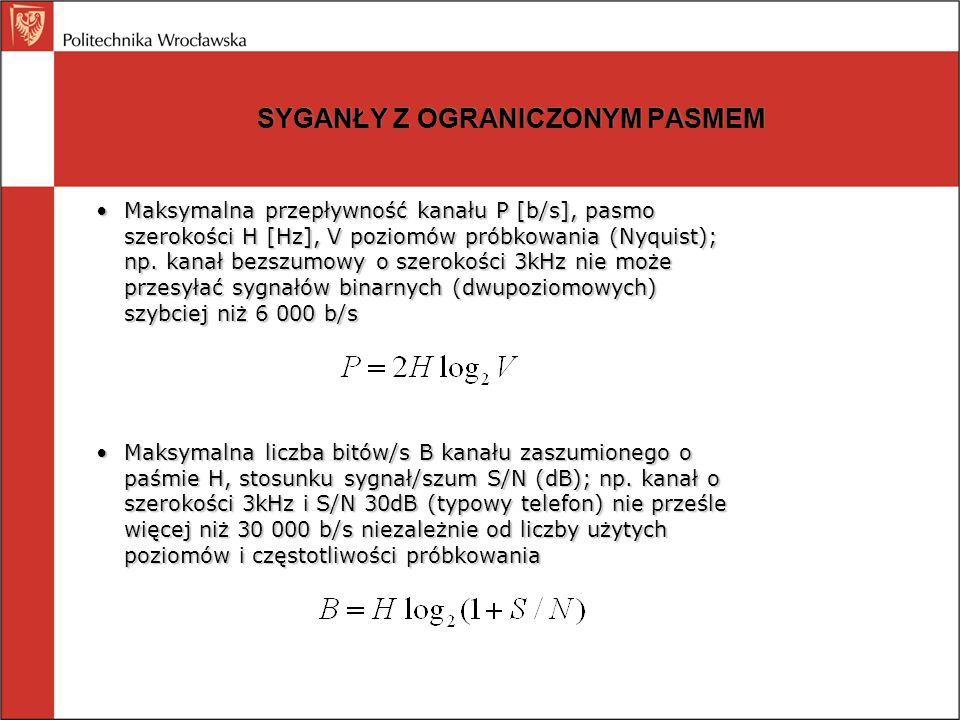SYGANŁY Z OGRANICZONYM PASMEM Maksymalna przepływność kanału P [b/s], pasmo szerokości H [Hz], V poziomów próbkowania (Nyquist); np. kanał bezszumowy