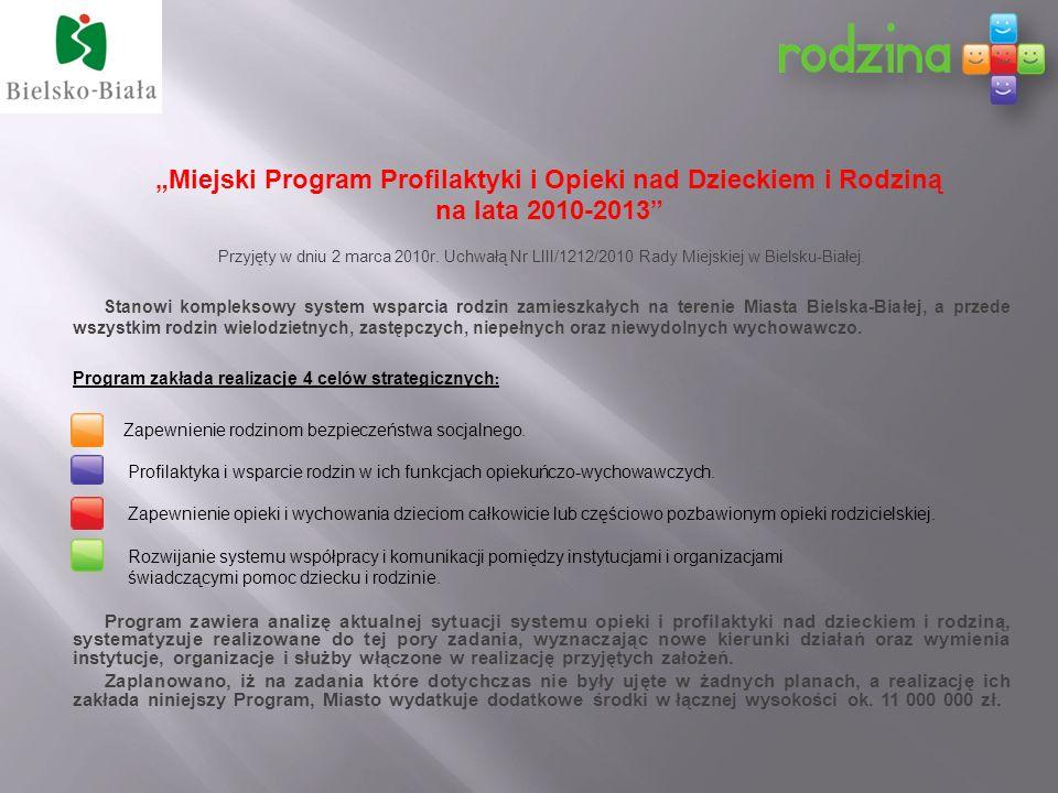 Miejski Program Profilaktyki i Opieki nad Dzieckiem i Rodziną na lata 2010-2013 Przyjęty w dniu 2 marca 2010r.