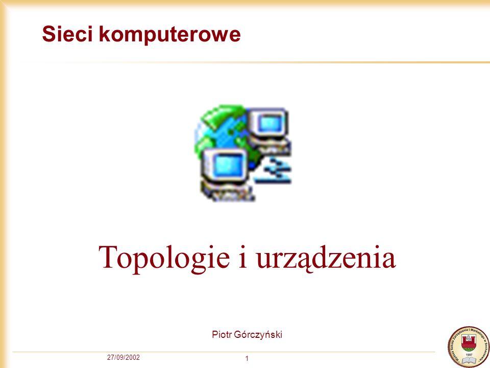 27/09/2002 2 Topologie sieci LAN Magistralowa (Bus) Pierścieniowa (Ring) Gwiaździsta (Star) Drzewiasta (Tree)