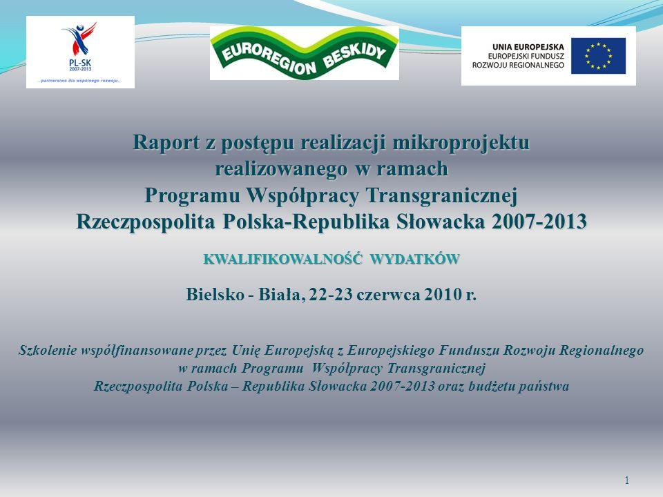 Raport z postępu realizacji mikroprojektu realizowanego w ramach Programu Współpracy Transgranicznej Rzeczpospolita Polska-Republika Słowacka 2007-201