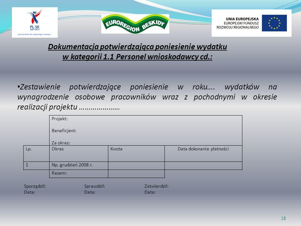 18 Projekt: Beneficjent: Za okres: Lp.OkresKwotaData dokonania płatności 1Np. grudzień 2008 r. Razem: Zestawienie potwierdzające poniesienie w roku….