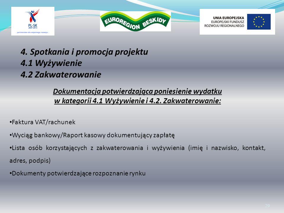 Wolontariat 29 Dokumentacja potwierdzająca poniesienie wydatku w kategorii 4.1 Wyżywienie i 4.2. Zakwaterowanie: Faktura VAT/rachunek Wyciąg bankowy/R