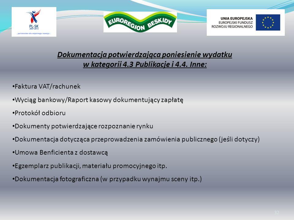 Wolontariat 32 Dokumentacja potwierdzająca poniesienie wydatku w kategorii 4.3 Publikacje i 4.4. Inne: Faktura VAT/rachunek Wyciąg bankowy/Raport kaso
