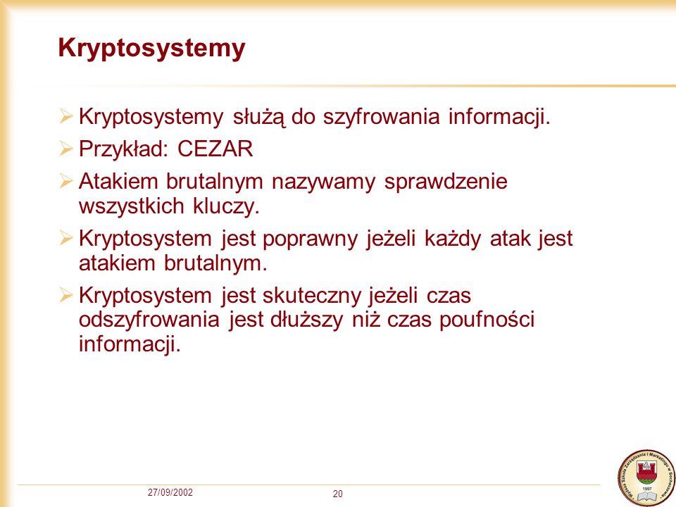 27/09/2002 20 Kryptosystemy Kryptosystemy służą do szyfrowania informacji. Przykład: CEZAR Atakiem brutalnym nazywamy sprawdzenie wszystkich kluczy. K