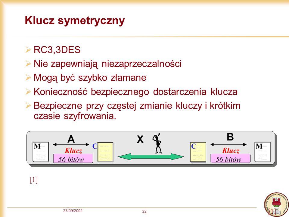 27/09/2002 22 Klucz symetryczny RC3,3DES Nie zapewniają niezaprzeczalności Mogą być szybko złamane Konieczność bezpiecznego dostarczenia klucza Bezpie
