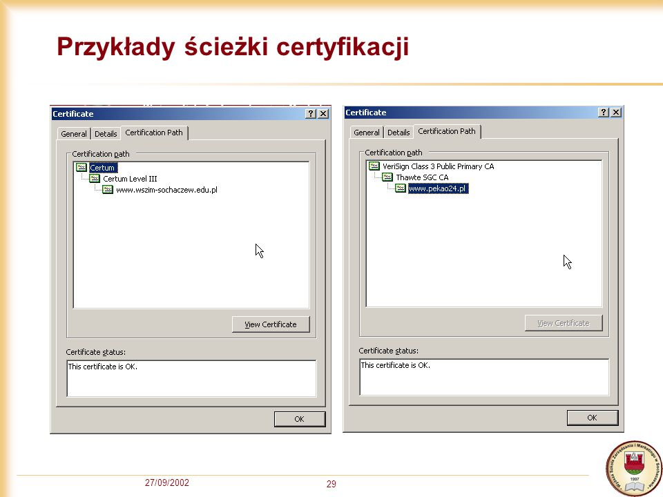 27/09/2002 29 Przykłady ścieżki certyfikacji