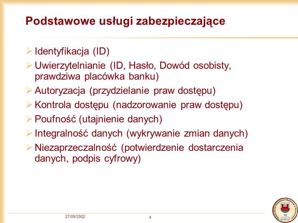 27/09/2002 4 Podstawowe usługi zabezpieczające Identyfikacja (ID) Uwierzytelnianie (ID, Hasło, Dowód osobisty, prawdziwa placówka banku) Autoryzacja (