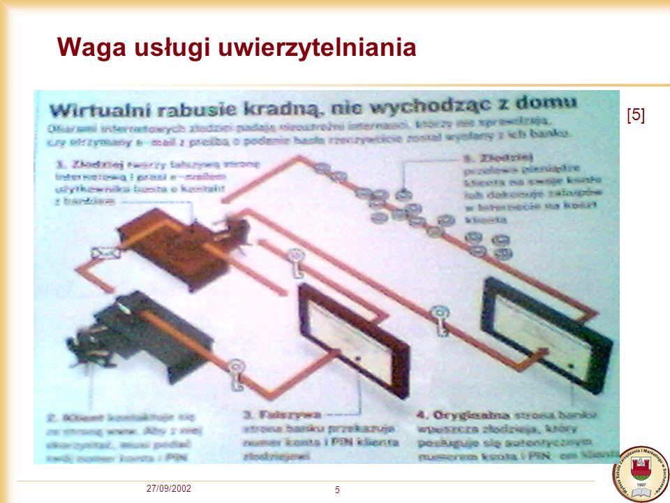 27/09/2002 16 Dynamiczny filtr pakietów Dynamiczny filtr pakietów kontroluje ruch na postawie atrybutów pakietu oraz tabeli stanów.