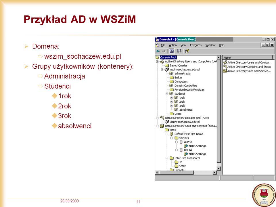20/09/2003 11 Przykład AD w WSZiM Domena: wszim_sochaczew.edu.pl Grupy użytkowników (kontenery): Administracja Studenci 1rok 2rok 3rok absolwenci