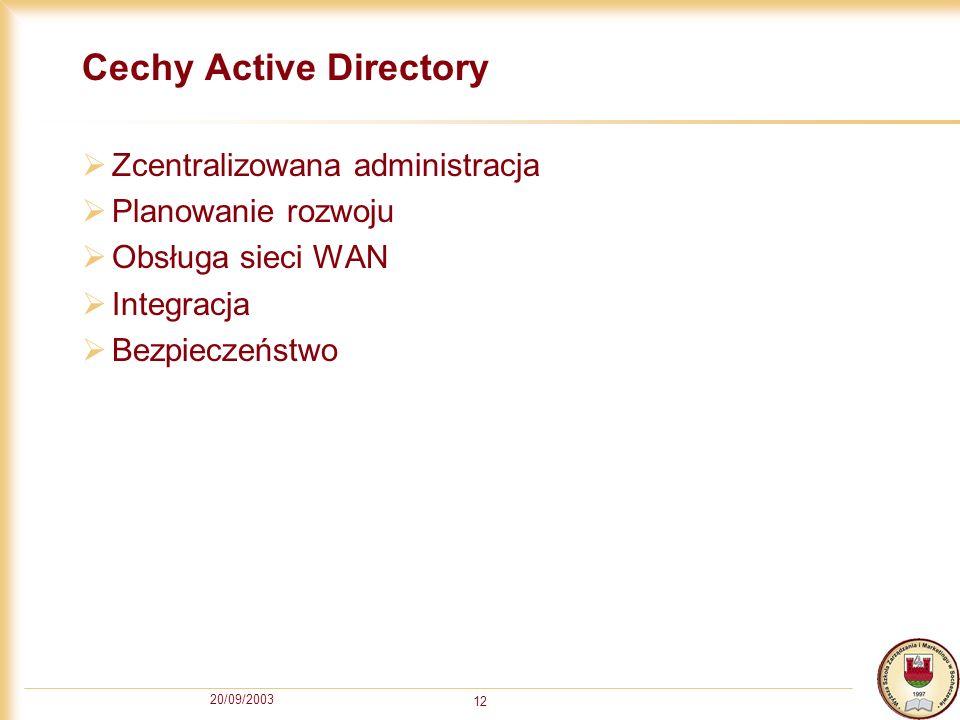 20/09/2003 12 Cechy Active Directory Zcentralizowana administracja Planowanie rozwoju Obsługa sieci WAN Integracja Bezpieczeństwo
