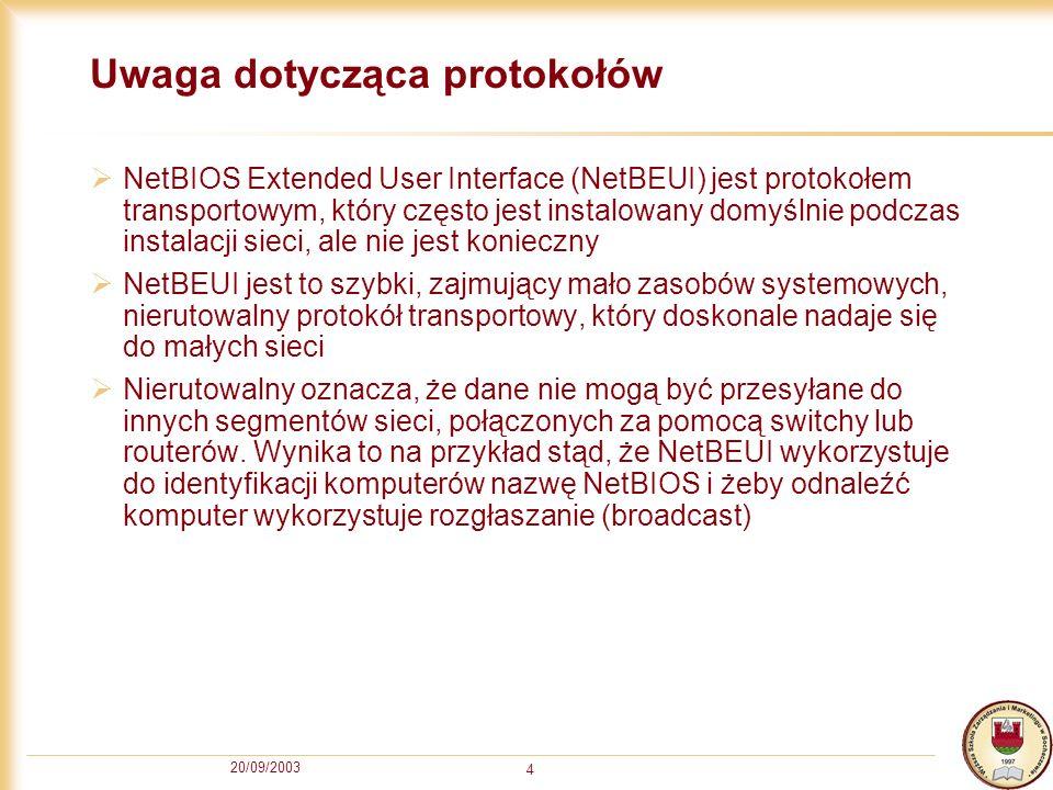 20/09/2003 4 Uwaga dotycząca protokołów NetBIOS Extended User Interface (NetBEUI) jest protokołem transportowym, który często jest instalowany domyśln