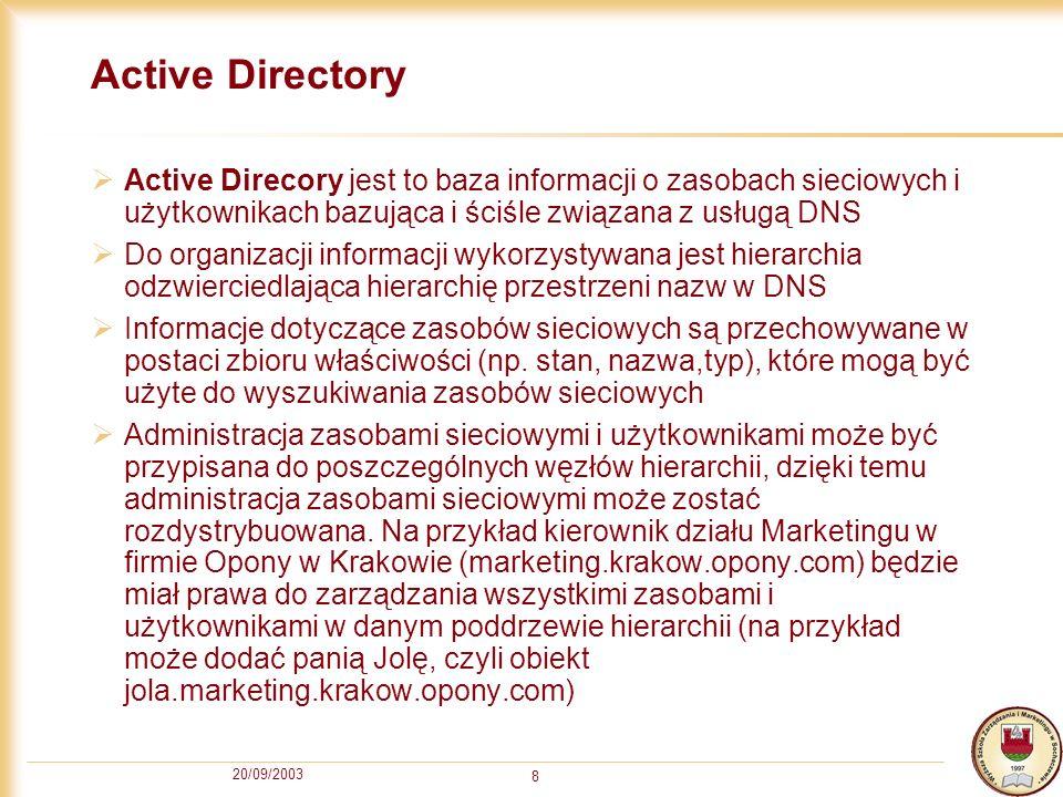 20/09/2003 8 Active Directory Active Direcory jest to baza informacji o zasobach sieciowych i użytkownikach bazująca i ściśle związana z usługą DNS Do