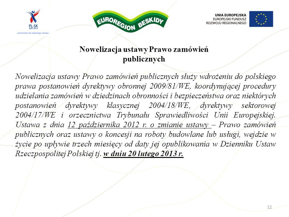 12 Nowelizacja ustawy Prawo zamówień publicznych służy wdrożeniu do polskiego prawa postanowień dyrektywy obronnej 2009/81/WE, koordynującej procedury