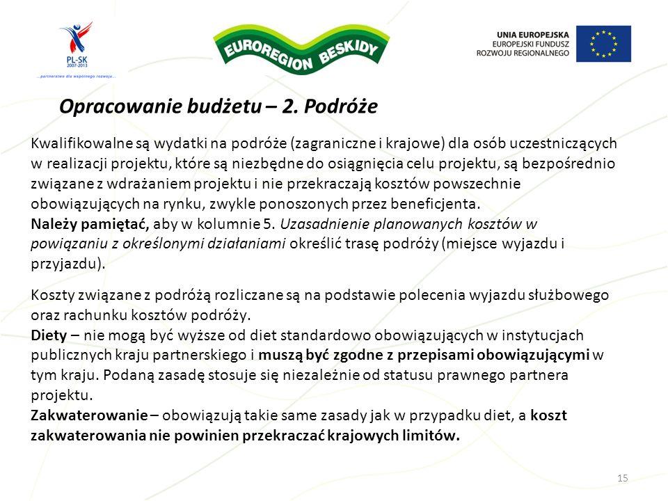 Opracowanie budżetu – 2. Podróże Kwalifikowalne są wydatki na podróże (zagraniczne i krajowe) dla osób uczestniczących w realizacji projektu, które są