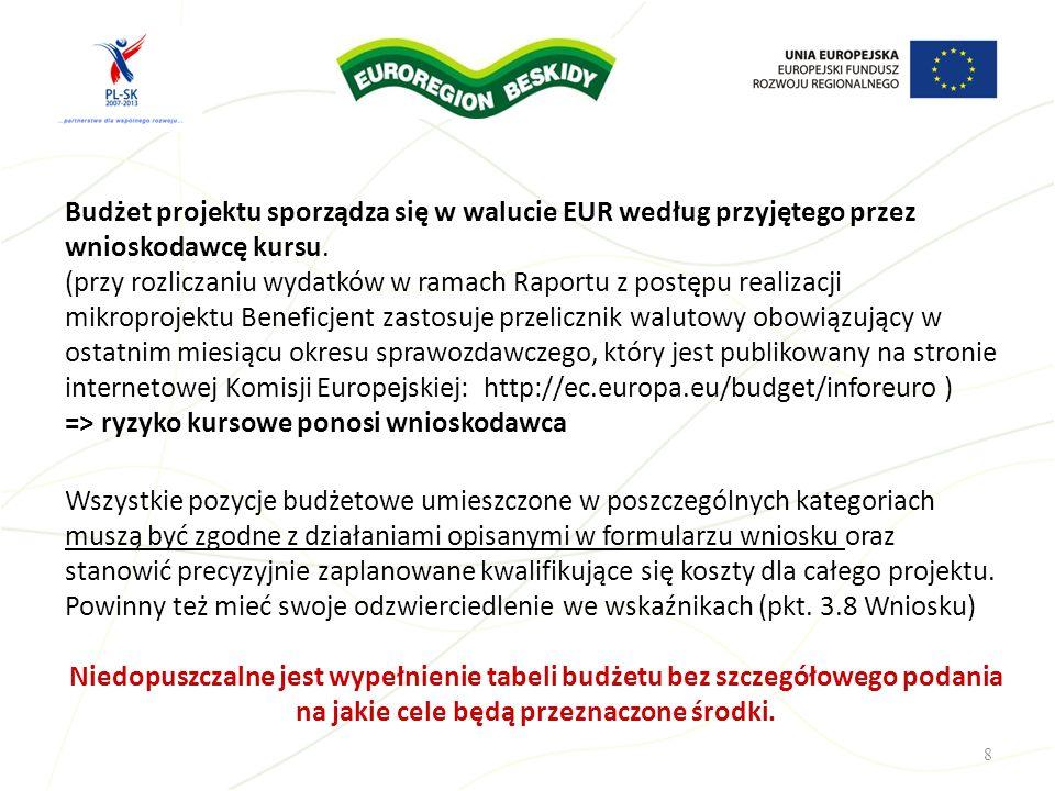 Budżet projektu sporządza się w walucie EUR według przyjętego przez wnioskodawcę kursu. (przy rozliczaniu wydatków w ramach Raportu z postępu realizac