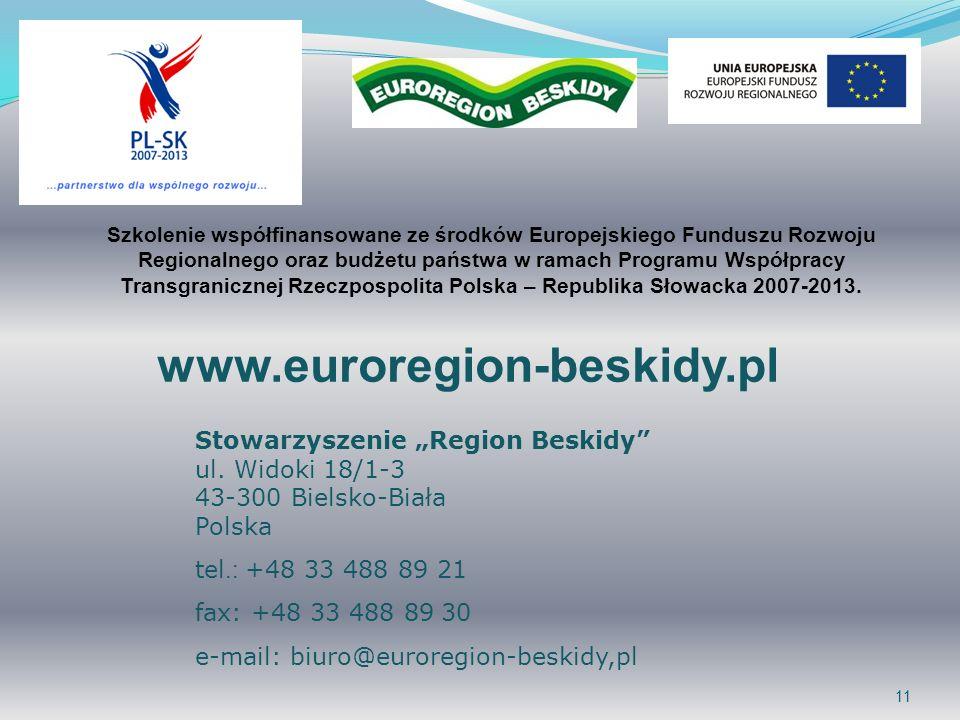 11 www.euroregion-beskidy.pl Stowarzyszenie Region Beskidy ul. Widoki 18/1-3 43-300 Bielsko-Biała Polska tel.: +48 33 488 89 21 fax: +48 33 488 89 30