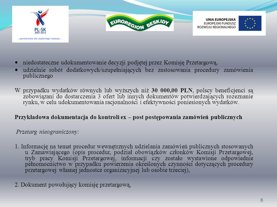 niedostateczne udokumentowanie decyzji podjętej przez Komisję Przetargową, udzielnie robót dodatkowych/uzupełniających bez zastosowania procedury zamó