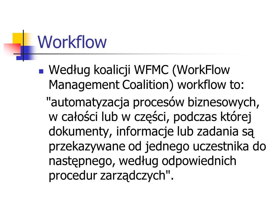 Workflow Według koalicji WFMC (WorkFlow Management Coalition) workflow to: