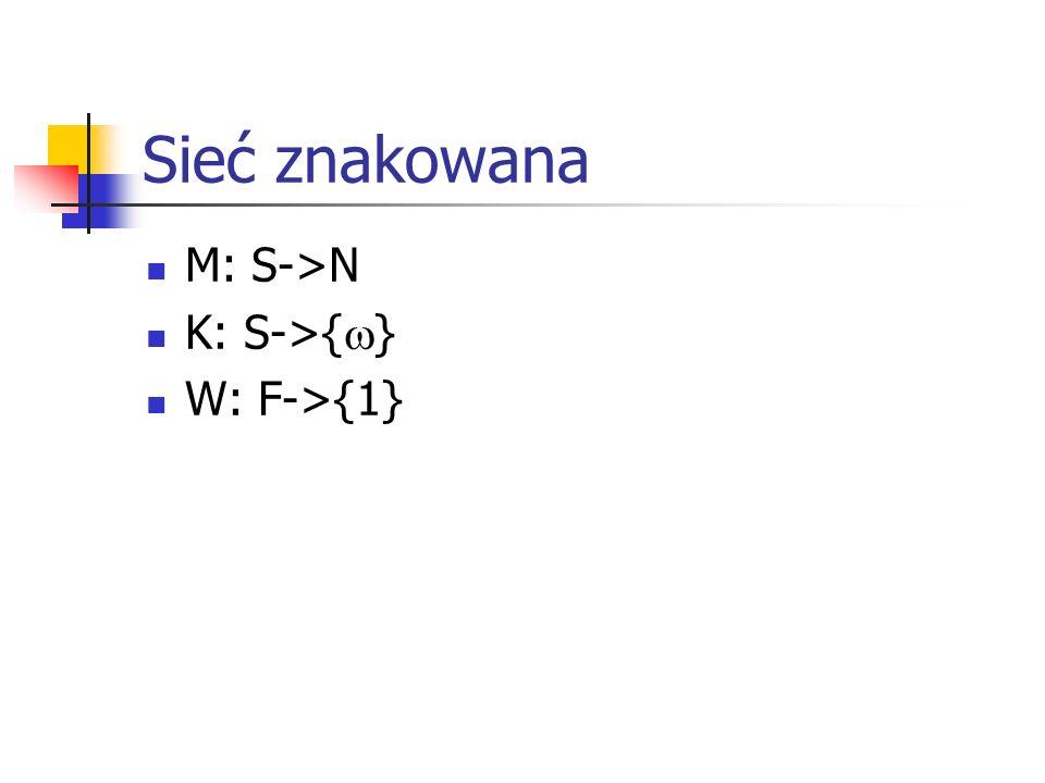 Sieć znakowana M: S->N K: S->{ } W: F->{1}