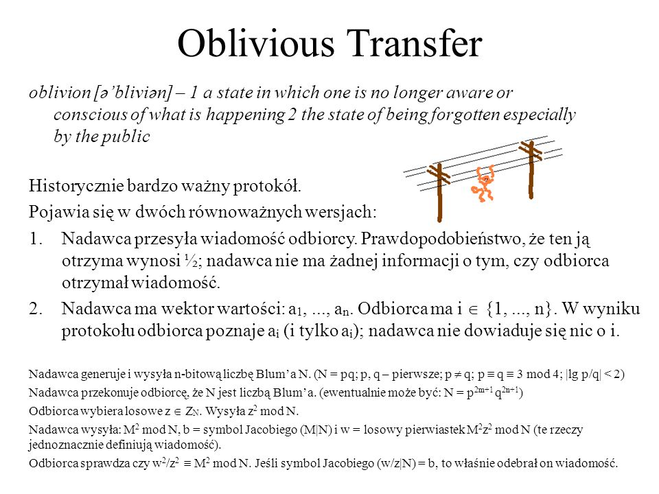 Oblivious Transfer oblivion [әbliviәn] – 1 a state in which one is no longer aware or conscious of what is happening 2 the state of being forgotten es