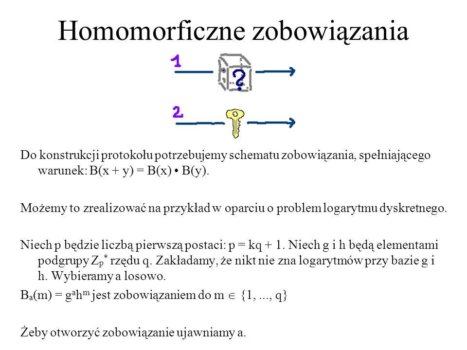 Homomorficzne zobowiązania Do konstrukcji protokołu potrzebujemy schematu zobowiązania, spełniającego warunek: B(x + y) = B(x) B(y). Możemy to zrealiz