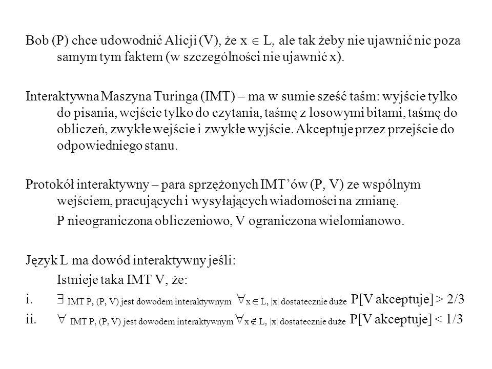 Bob (P) chce udowodnić Alicji (V), że x L, ale tak żeby nie ujawnić nic poza samym tym faktem (w szczególności nie ujawnić x). Interaktywna Maszyna Tu