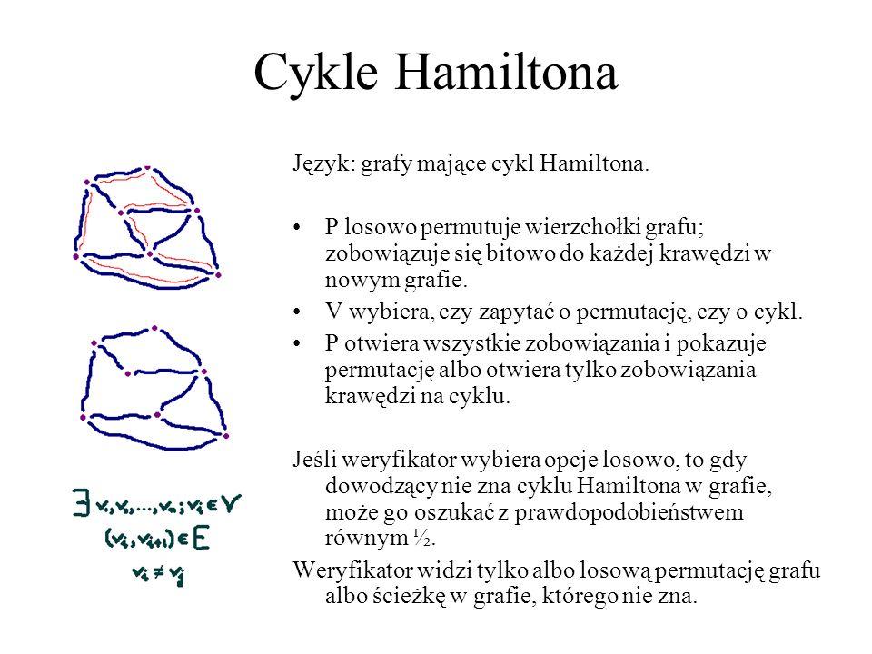 Cykle Hamiltona Język: grafy mające cykl Hamiltona. P losowo permutuje wierzchołki grafu; zobowiązuje się bitowo do każdej krawędzi w nowym grafie. V