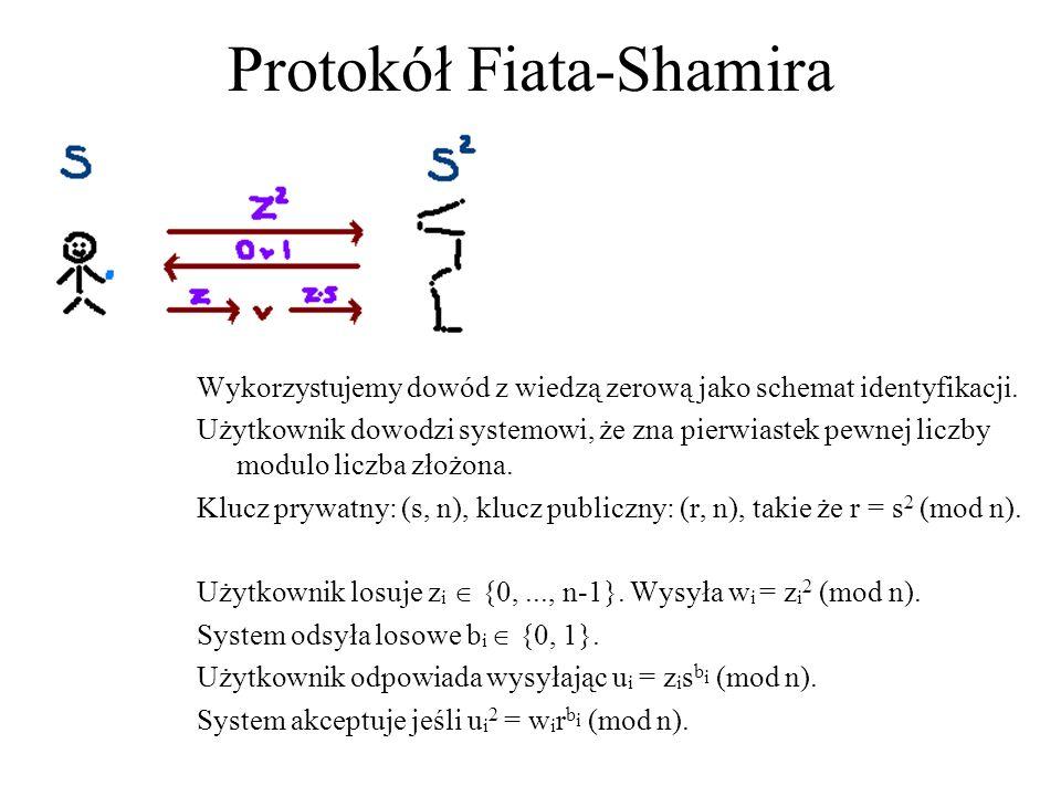 Protokół Fiata-Shamira Wykorzystujemy dowód z wiedzą zerową jako schemat identyfikacji. Użytkownik dowodzi systemowi, że zna pierwiastek pewnej liczby