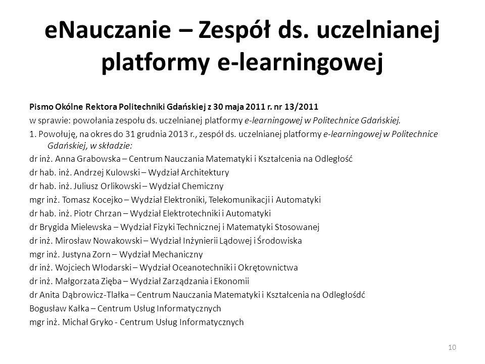 eNauczanie – Zespół ds. uczelnianej platformy e-learningowej Pismo Okólne Rektora Politechniki Gdańskiej z 30 maja 2011 r. nr 13/2011 w sprawie: powoł