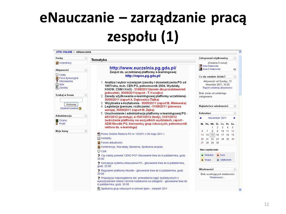 eNauczanie – zarządzanie pracą zespołu (1) 12