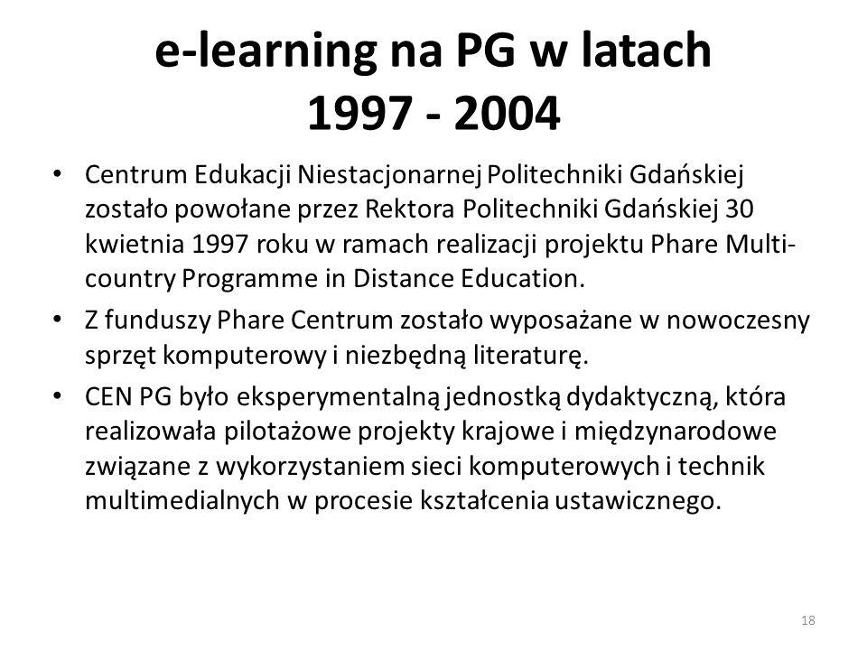 e-learning na PG w latach 1997 - 2004 Centrum Edukacji Niestacjonarnej Politechniki Gdańskiej zostało powołane przez Rektora Politechniki Gdańskiej 30