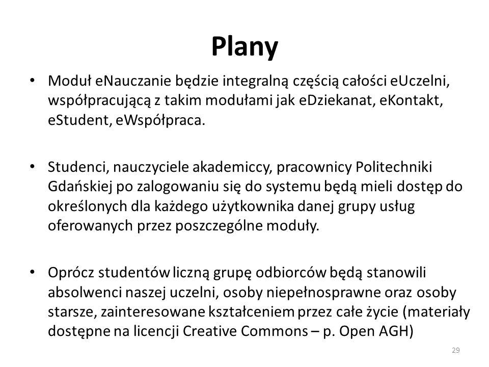 Plany 29 Moduł eNauczanie będzie integralną częścią całości eUczelni, współpracującą z takim modułami jak eDziekanat, eKontakt, eStudent, eWspółpraca.