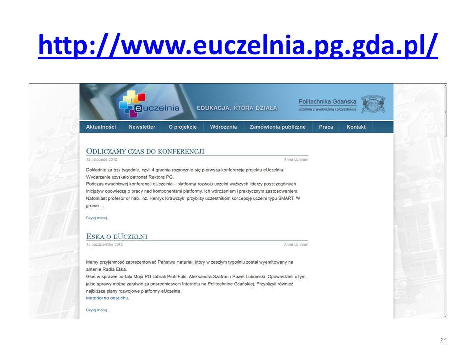 http://www.euczelnia.pg.gda.pl/ 31
