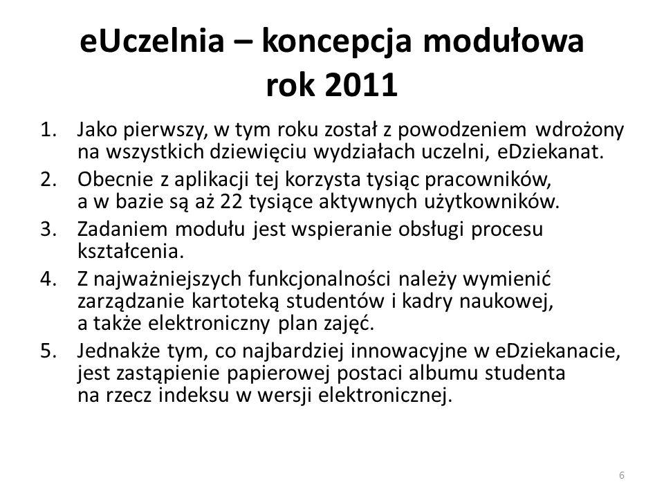 eUczelnia – koncepcja modułowa rok 2011 1.Jako pierwszy, w tym roku został z powodzeniem wdrożony na wszystkich dziewięciu wydziałach uczelni, eDzieka