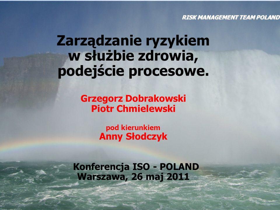 RISK MANAGEMENT TEAM POLAND Zarządzanie ryzykiem, to: skoordynowane działania kierowania i kontrolowania placówki medycznej z uwzględnieniem ryzyka (ISO/IEC Guide 73)