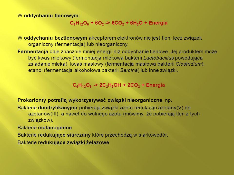 W oddychaniu tlenowym: C 6 H 12 O 6 + 6O 2 -> 6CO 2 + 6H 2 O + Energia W oddychaniu beztlenowym akceptorem elektronów nie jest tlen, lecz związek organiczny (fermentacja) lub nieorganiczny.