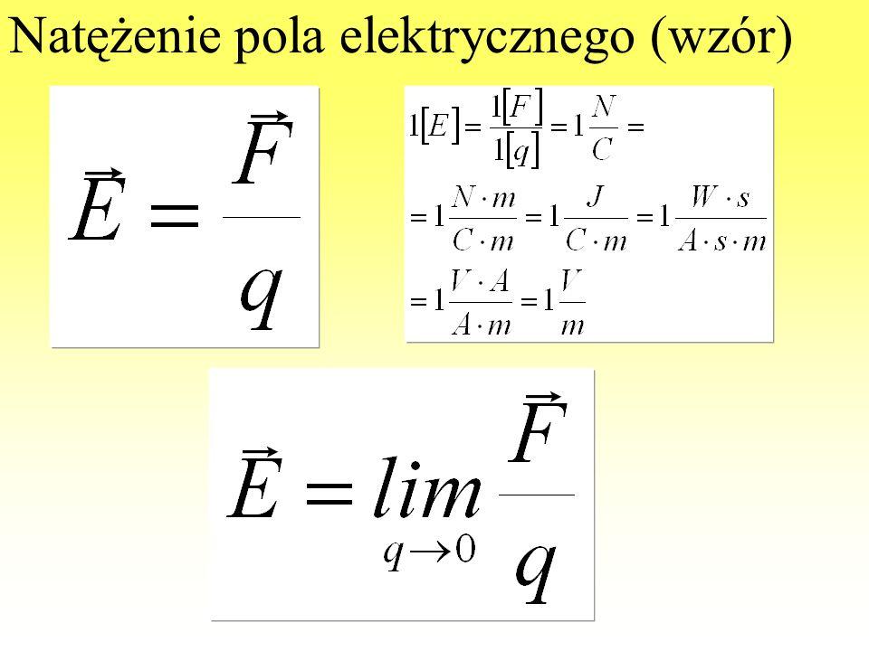Natężenie pola elektrycznego (def) Natężeniem pola elektrycznego w dowolnym punkcie, w którym pole istnieje, nazywamy wielkość wektorową, której warto