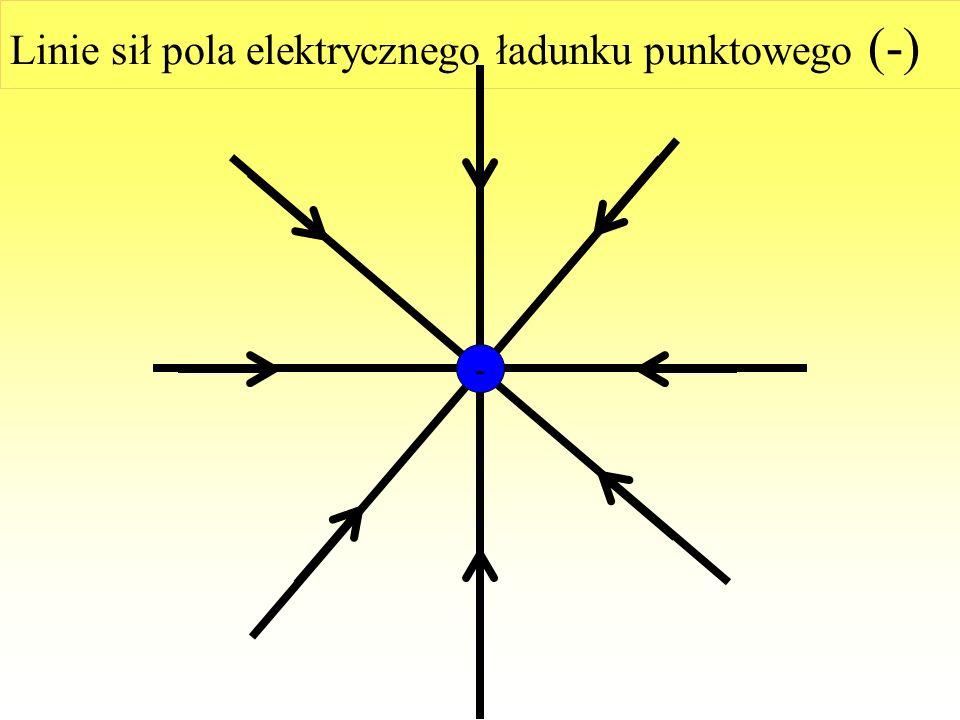 Linie sił pola elektrycznego ładunku punktowego (+) +
