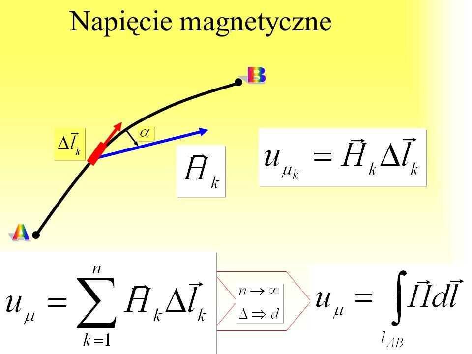 Bezźródłowość pola magnetycznego: Linie pola magnetycznego są krzywymi zamkniętymi wobec czego strumień magnetyczny przez dowolną powierzchnię zamknię