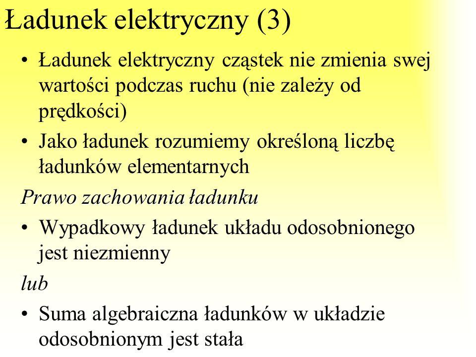 Ładunek elektryczny (2) 1C (kulomb) jednostka ładunku – to ładunek elektryczny jaki jest przenoszony w ciągu jednej sekundy przez dany przekrój przewo