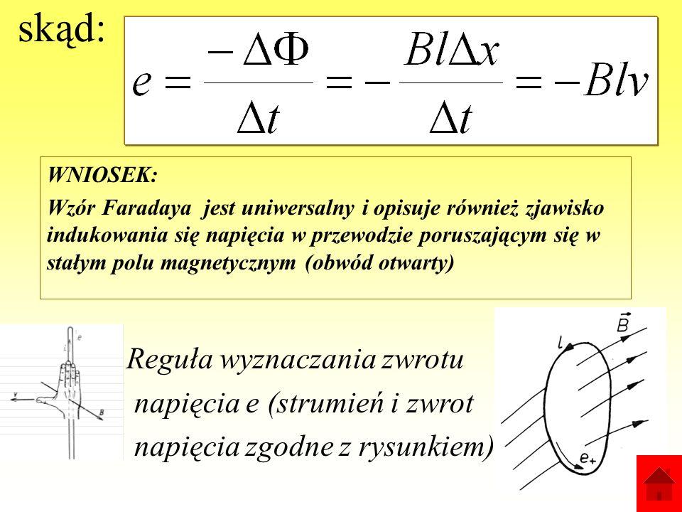 Prawo Faradaya (obwód otwarty) Przewód o długości l przemieszcza się w czasie t na odległość x, zmiana strumienia w tym czasie da się wyrazić wzorem: