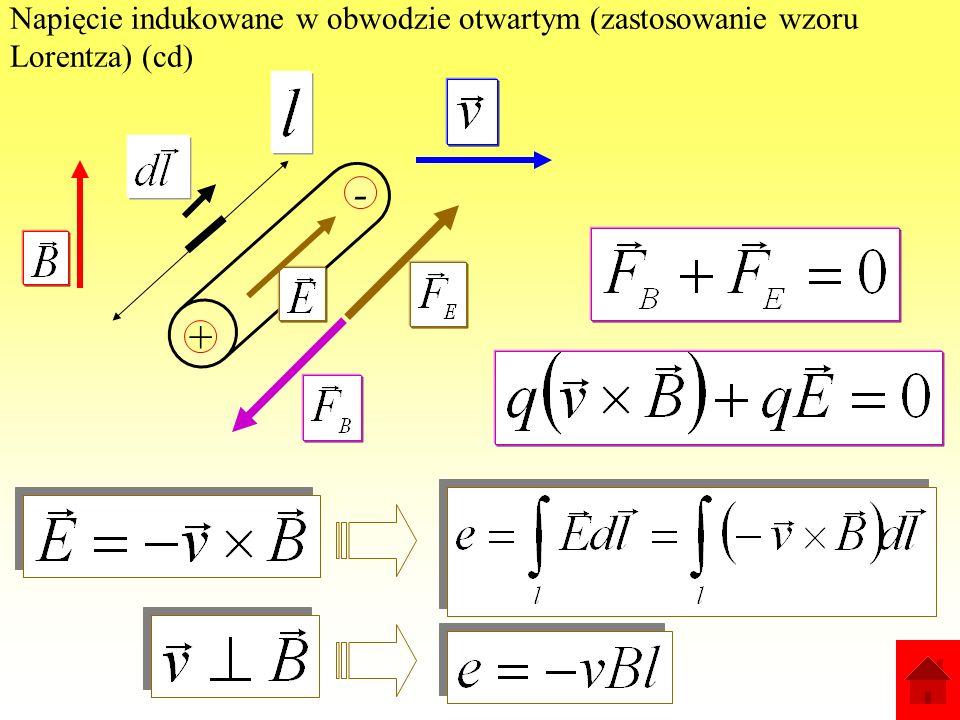 Napięcie indukowane w obwodzie otwartym (zastosowanie wzoru Lorentza): + Pod wpływem siły Lorentza: ładunki przemieszczą się (zgrupują); wytworzy się