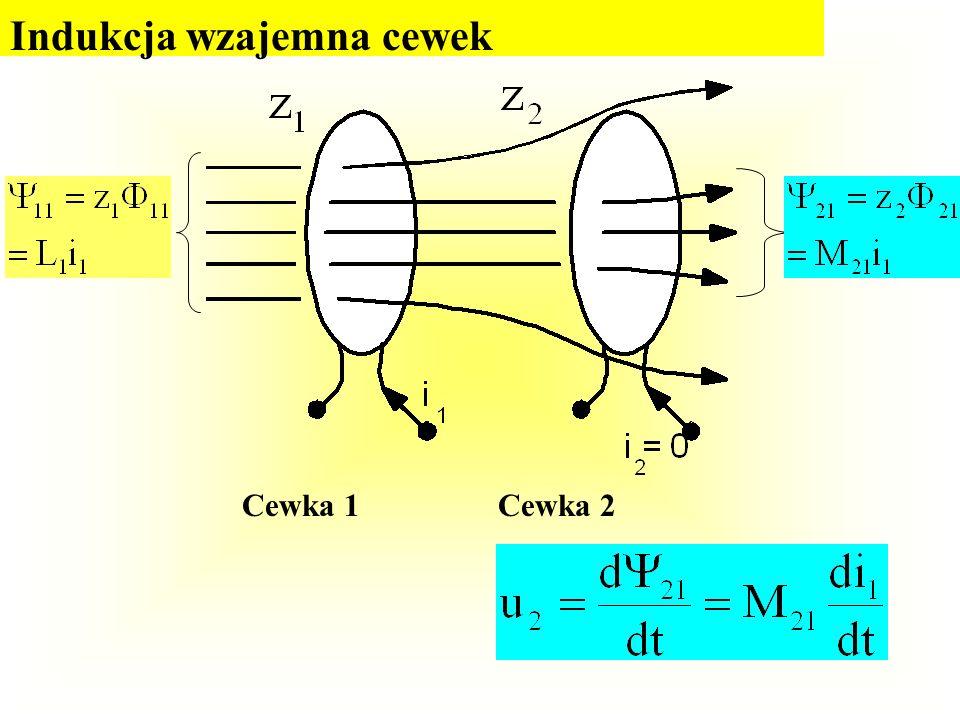 Cewka w polu magnetycznym 1 2 3 z Przy zmianie strumieni poszczególnych zwojów indukują się w nich siły elektromotoryczne (napięcia indukowane):