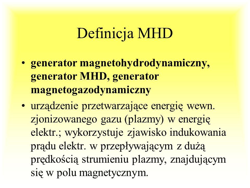 Generator MGD (MHD) Gaz o temp.1700-2700 o C prędkość v=1000m/s indukcja B=3-6 T