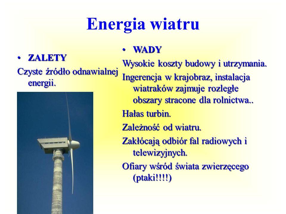 Elektrownie wiatrowe w Polsce ogólna moc zainstalowana w energetyce wiatrowej w Polsce to 280MW (stan na 4 paź 2007r.). 142 turbiny wiatrowe 33% teryt
