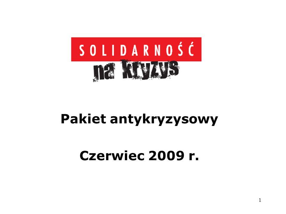 1 Pakiet antykryzysowy Czerwiec 2009 r.