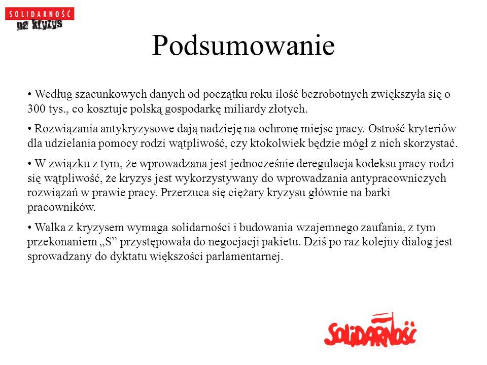 Podsumowanie Według szacunkowych danych od początku roku ilość bezrobotnych zwiększyła się o 300 tys., co kosztuje polską gospodarkę miliardy złotych.