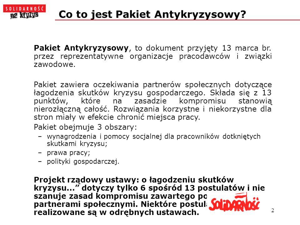 2 Co to jest Pakiet Antykryzysowy. Pakiet Antykryzysowy, to dokument przyjęty 13 marca br.