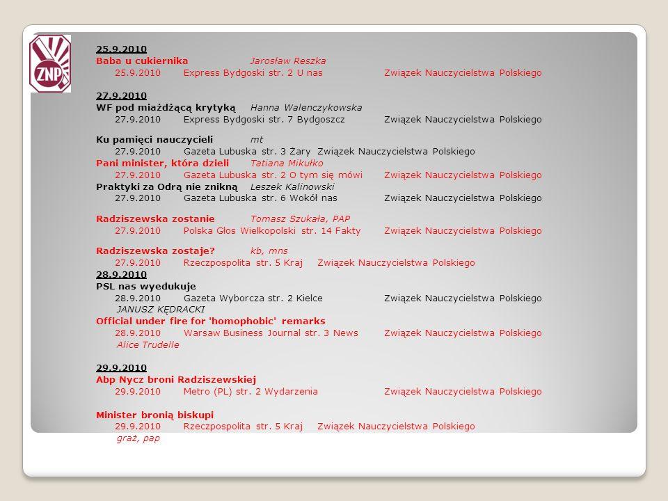 25.9.2010 Baba u cukiernikaJarosław Reszka 25.9.2010Express Bydgoski str. 2 U nasZwiązek Nauczycielstwa Polskiego 27.9.2010 WF pod miażdżącą krytyką H