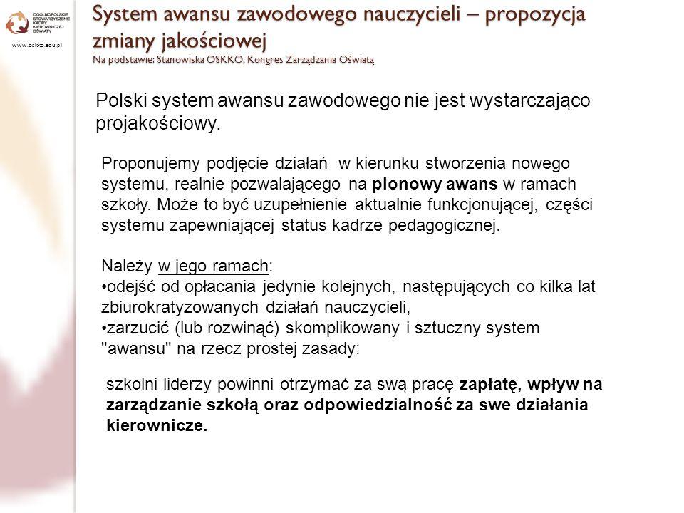 Dajmy władzę nauczycielom www.oskko.edu.pl Należy zmierzać do utworzenia formalnych stanowisk liderów w szkole: szefów zespołów przedmiotowych, wychowawczych, szkolnych koordynatorów itp.
